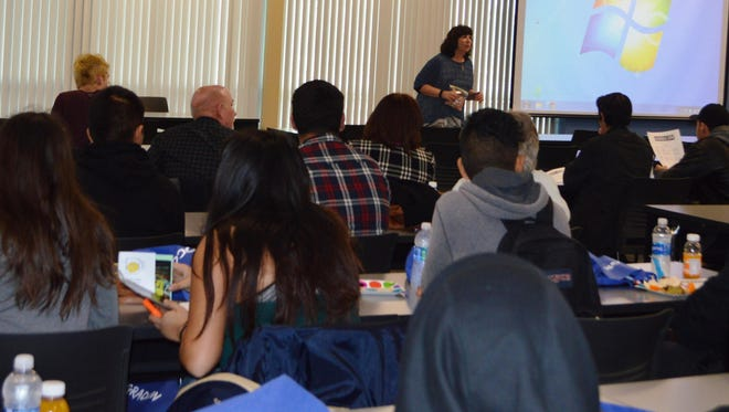 Students attend a presentation during GradCon, which presents post-school options for students in special education.