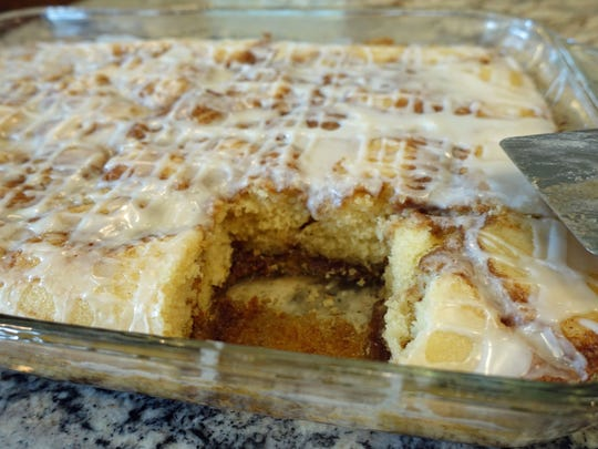 This cake captures all the flavors and gooeyness of cinnamon rolls. And while it's baking, the house smells wonderful.
