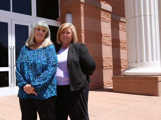 From left, Suzun Abbott and Debbie Heisler stand in front of the 5th District Courthouse in St. George. The two have cofounded the Blue Butterfly House, a nonprofit organization for families dealing with supervised visitation time. Heisler's stepson, David, died following an alleged kidnapping and abandonment in the Arizona Strip that is alleged to have been in revenge for a child custody dispute that granted him permanent custody of a daughter in 2016.