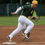 Richmond's Jeff Kammer forces out a Springfield runner at third base Saturday at McBride Stadium.