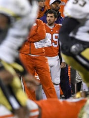 Clemson kicker Drew Costa (89) watches teammates play Georgia Tech during the third quarter in Memorial Stadium at Clemson on Saturday.