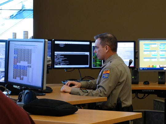 DPS Trooper Robb Brown monitors freeway activity at
