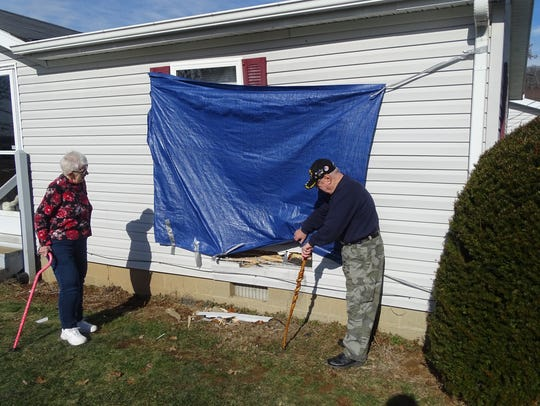Betty and Bill Tomey, of Canal Lewisville, show some
