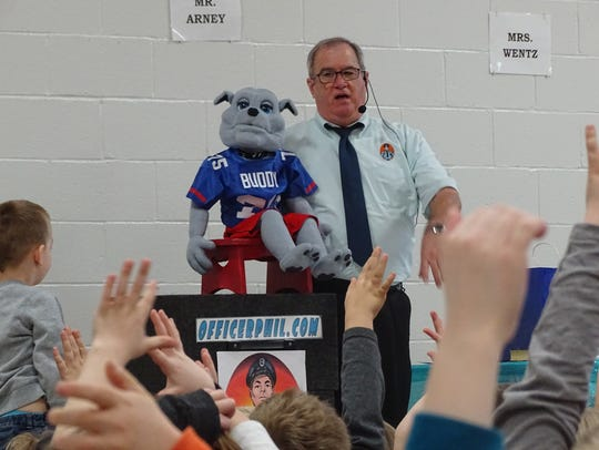 Officer Phil and Buddy the Bulldog visited Ridgewood