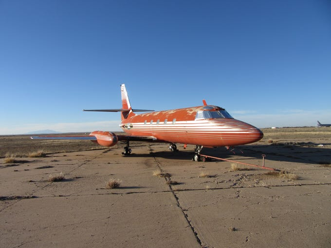 This red 1962 Lockheed JetStar JT 12-5 once flew Elvis,