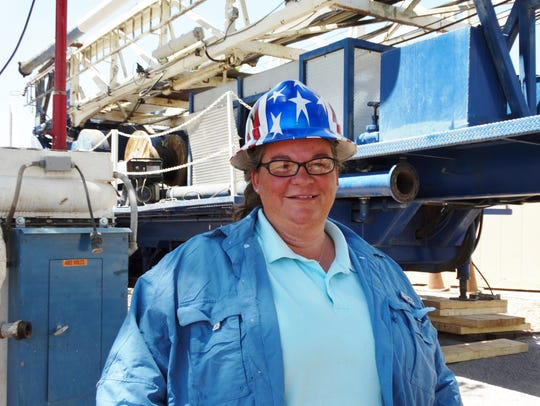 Hydrogeologist Sherry Fritz stands in front of the