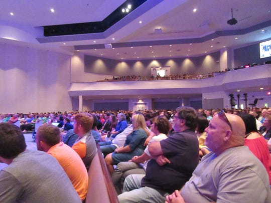 A crowd listens to a message at Englewood Baptist Church in July of 2016.