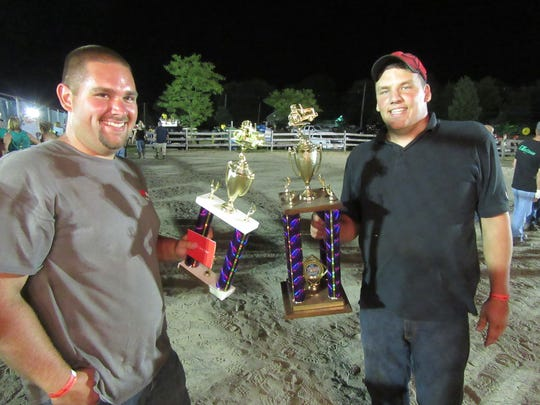 These two past truck pull winners, Alec Roberts (left) and Marc Wirasnik hope to again win the title at this year's Hunterdon County 4-H and Agricultural Fair.