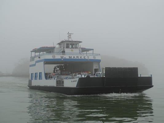 Miller Boat Line running on unfrozen lake
