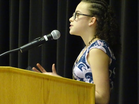 Alana Smith, 12, took part in Tuesday's NAACP Martin Luther King Jr. Oratorical Contest at Fremont Middle School.