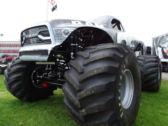 Raminator stopped in Bellevue for the third year in a row at Myers Auto Sales. The monster truck's axle shaft parts are made locally at SCS Gearbox in Bellevue.