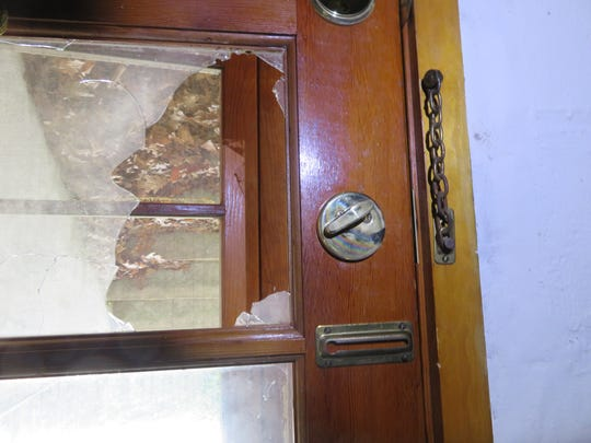 A glass pane on a basement door was broken to gain entry to a Haverstraw home that was vandalized.