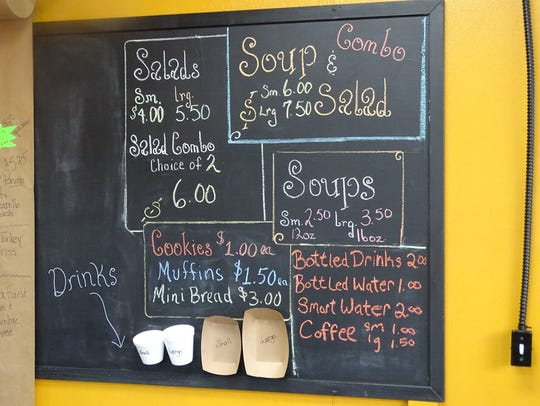 The menu board at Simply Soups, Salads, Sweets and