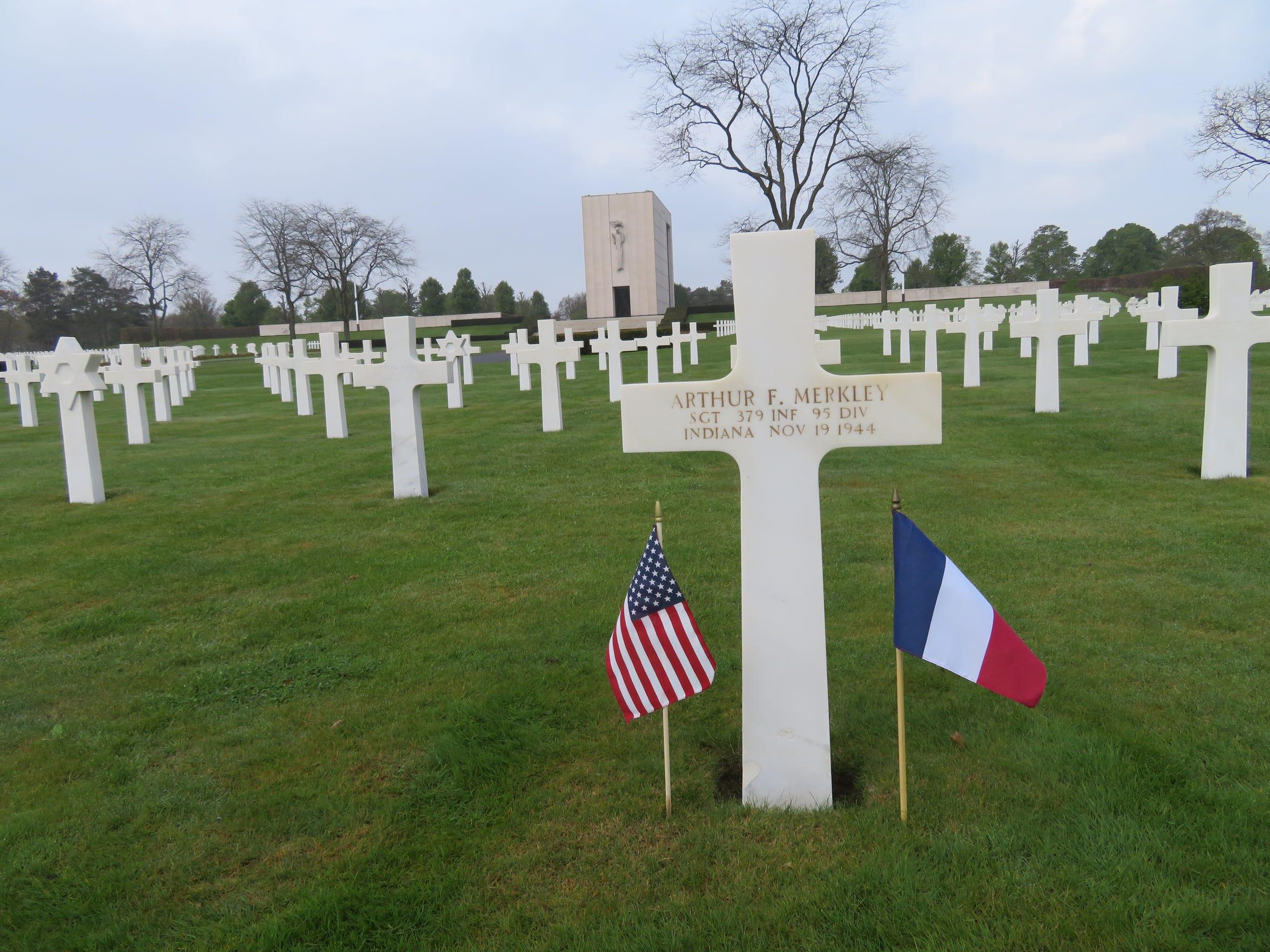 Arthur Merkley's grave in France.