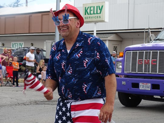 Jay Cullen of Fremont marched in the city's annual Memorial Day parade Monday.