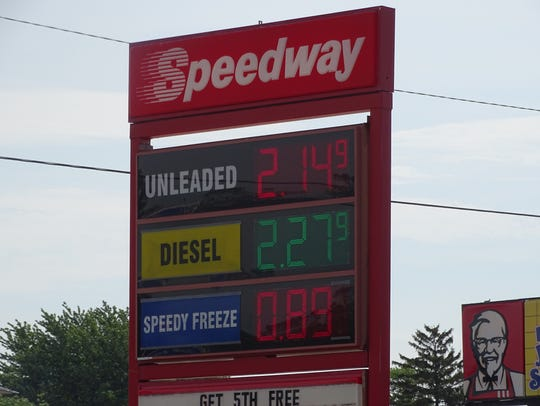 Gas prices in Fremont range from $2.12 to $2.15, the