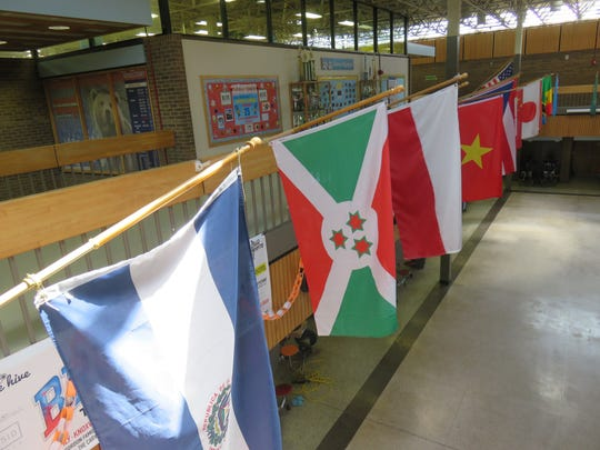 Flags signify Bearden Middle School as an International Baccalaureate school.