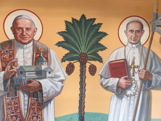 Catholic saints depicted in the Sacred Heart Cathedral