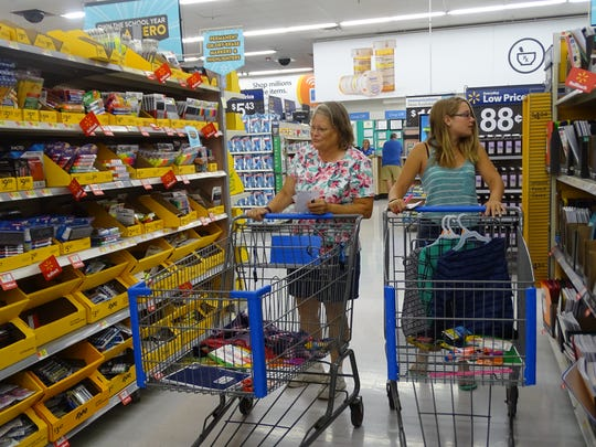 Marlene Madison and niece Trista Chasteen shop for school supplies during the annual Ohio sales tax holiday.