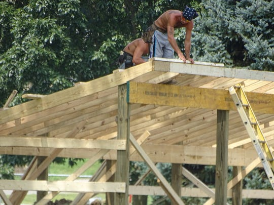 About a week before the start of school, work was ongoing on a new soccer facility dugout on the Unioto campus.