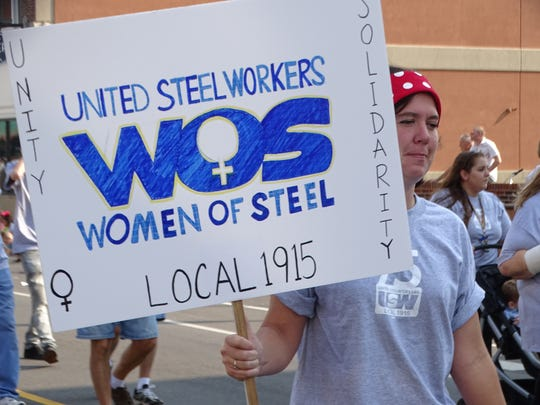 Union workers representing the bricklaying, electrical and steel working sector walked in the annual Labor Day parade in Fremont.