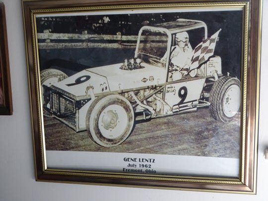 A framed photo on Gene Lentz's wall shows the Gibsonburg racer in a sprint card in 1962.