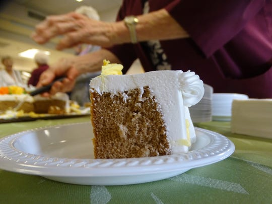 Cake was served at ProMedica Memorial Hospital to celebrate Myrtle Koch, who turned 100 Friday.