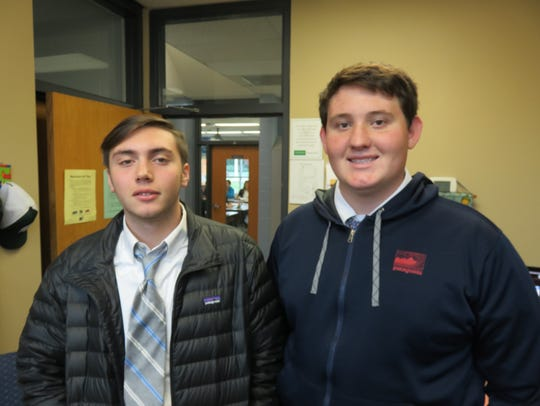 Webb student broadcasters Peyton Gallaher, left, and