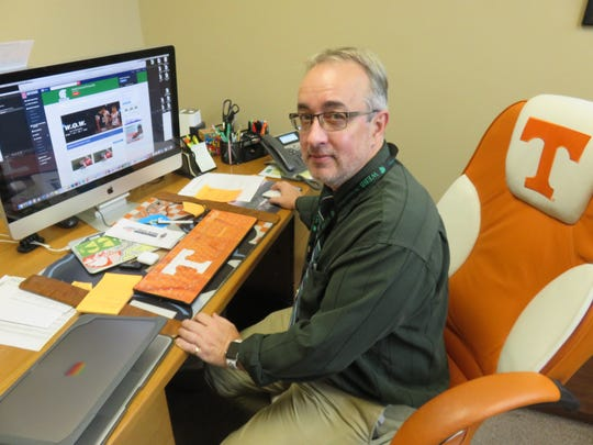 Webb School's W.O.W. Network faculty coordinator Doug Bright in his office.