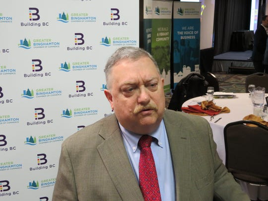 Gary Keith, regional economist for M&T Bank, talks about the Binghamton regional economy at the Greater Binghamton Chamber of Commerce breakfast Feb, 13, 2018, at the Holiday Inn-Downtown