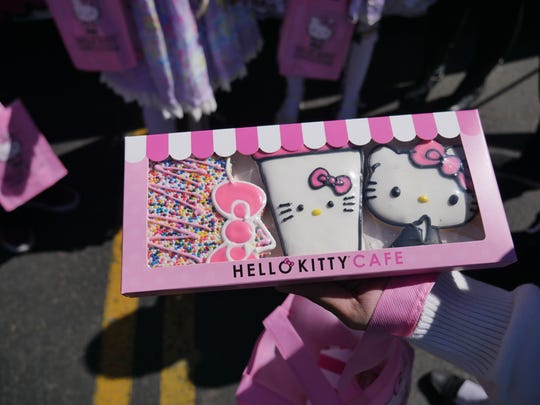 Sugar cookies and other treats were availble for purchase at the Hello Kitty Cafe Truck in Gilbert, Ariz. on Feb. 24, 2018.