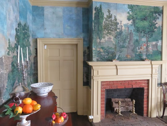 Vintage wallpaper in Crescent Bend dining room is from