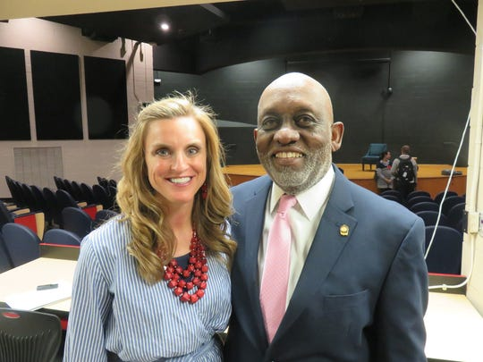 Dr. Lynn Weaver, right, and West High principal Ashley Jessie during his visit to the school on March 27.
