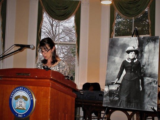 """Maryann McFadden's newest novel, """"The Cemetery Keeper's Wife,""""is based on the April 1886 New Jersey murder of Tillie (Matilda) Smith. She is shown speaking about the book at Centenary University in Hackettstown. The murder occurred in Hackettstown."""
