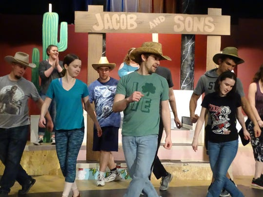 "The Fremont Community Theatre has a cast 40, shown rehearsing a dance scene, in its upcoming production of ""Joseph and the Amazing Technicolor Dreamcoat."""
