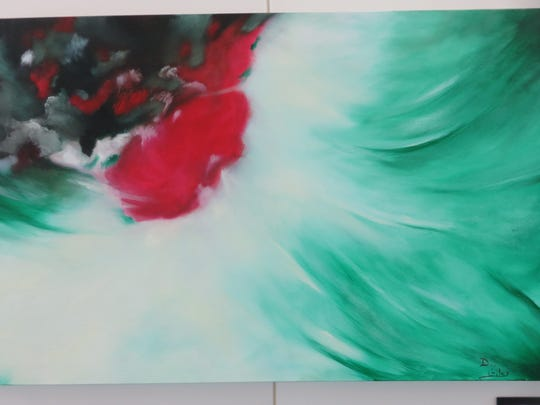 "Dee Giles, ""Splash of Red,"" acrylic. Giles also has work hanging currently at the Branson Convention Center."
