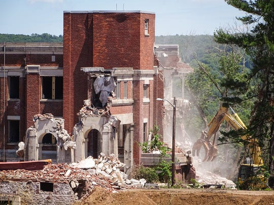 The Reception Building's demolition reaches the halfway point on June 21, 2018.