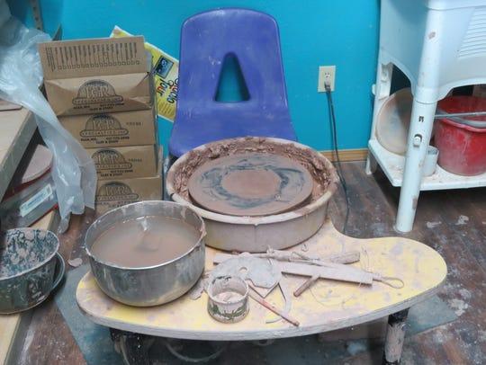 Leaayn Shurley's pottery wheel, tucked into a corner