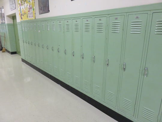 Old lockers in hall were in the school back in 1968.