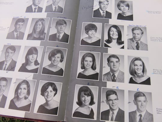 A yearbook page showing members of the class of 1968