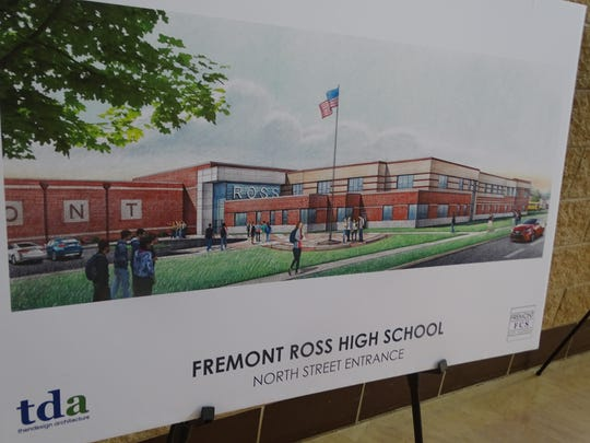 A rendering by ThenDesign Architecture shows the North Street entrance of  the new Fremont Ross High School. Fremont City Schools expects the new high school to be completed by the summer of 2021.