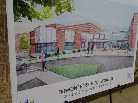 A rendering by TDA shows a proposed student and community entrance at the new Fremont Ross High School. Fremont City Schools expects construction on the new high school to be completed by the summer of 2021.
