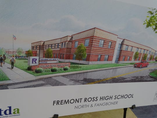 TDA put up three renderings of what the new Fremont Ross High School might look like when completed in 2021. This rendering shows the school at the intersection of North Street and Fangboner Road.