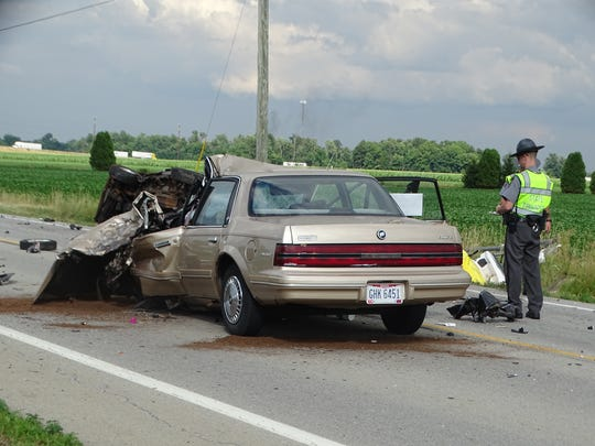 Noah Deanda, 19, was driving this tan 1993 Buick Century on U.S. 6 near the Ohio Turnpike around 5 p.m. Tuesday when he crossed the center line and struck a pickup truck head-on, according to the Ohio Highway Patrol. Deanda was cited for driving left of center.
