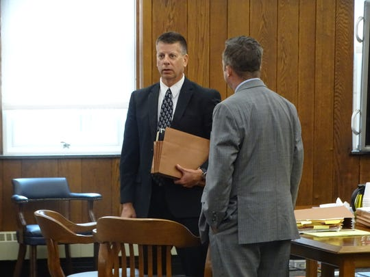 Sean O'Connell leaves Sandusky County Common Pleas Court after pleading guilty to felony tampering with evidence Monday.