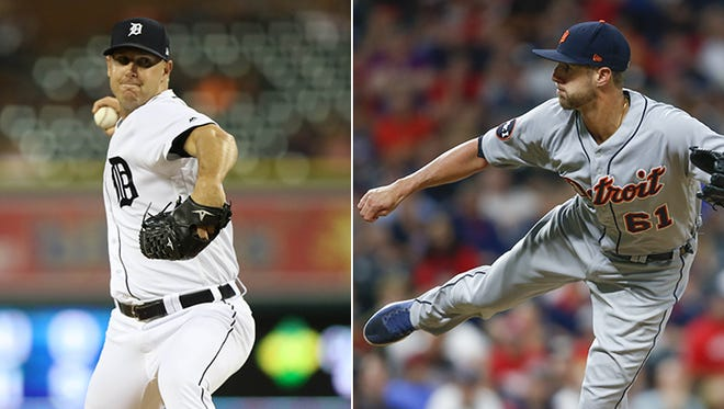 Tigers relievers Warwick Saupold, left, and Shane Greene have put together nice seasons.