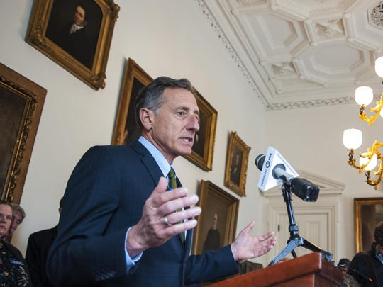 Gov. Peter Shumlin answers questions during his weekly news conference at the Statehouse in Montpelier on April 8.