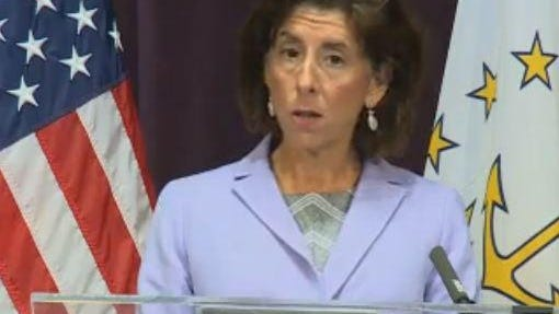 Gov. Raimondo during her weekly press briefing on Wednesday.