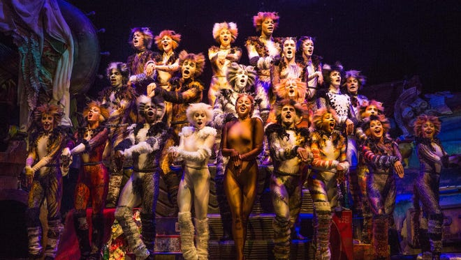 """The company of the new production of """"Cats,"""" which is based on """"Old Possum's Book of Practical Cats"""" by T.S. Eliot and features the music of Andrew Lloyd Webber."""