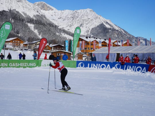 A cross-country skier completes a run during the Pre-Games, a test run event for the 2017 Special Olympics World Winter Games in Austria.